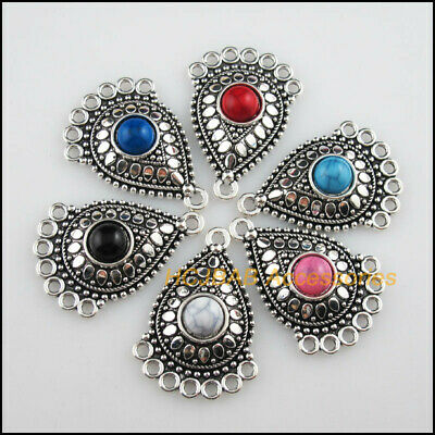 6 New Teardrop Mixed Charms Acrylic Flowers Tibetan Silver Connectors 25.5x36mm