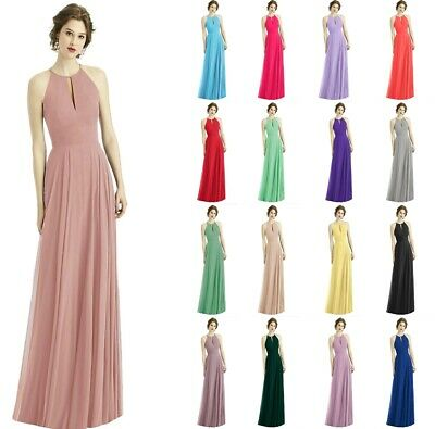 Formal Chiffon Halter Long Wedding Bridesmaid Party Ball Prom Gown Dresses 6-24