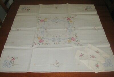 Vintage Hand Embroidered Supper Cloth/4 Matching Napkins ~ Cream ~ Cotton ~ New