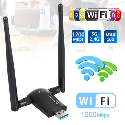 1200Mbps Wireless USB Wifi Adapter 802.11AC Dongle Dual Band 2.4G/5GHz w/Antenna