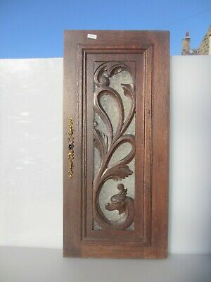 Victorian Carved Wooden Panel Plaque Door Antique Glass Old Wood Rococo Baroque