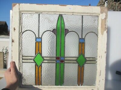 """Victorian Stained Glass Window Panel Architectural Old Art Nouveau Wooden 20"""""""