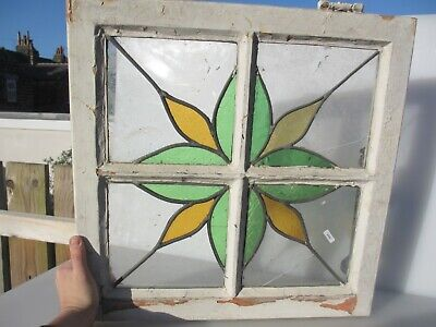 """Victorian Stained Glass Window Panel Old Art Nouveau Flower Star Wooden 20"""""""