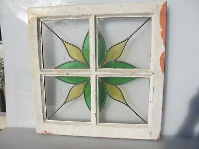 """Victorian Stained Glass Window Panel Old Art Nouveau Flower Star Wooden 20.5"""""""