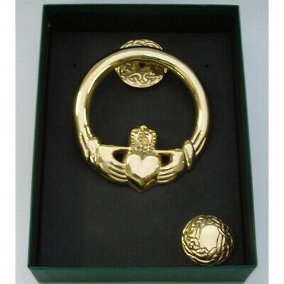 "Door Knocker Medium Brass Claddagh Design Round Back,  Measures 4.5"" x 4 """