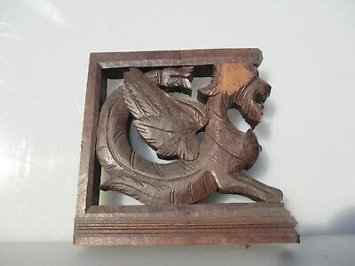 Victorian Carved Wood Shelf Brackets Lion Mythical Dragon Antique French Wooden