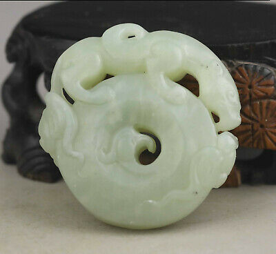Old Chinese natural jade hand-carved statue dragon pendant