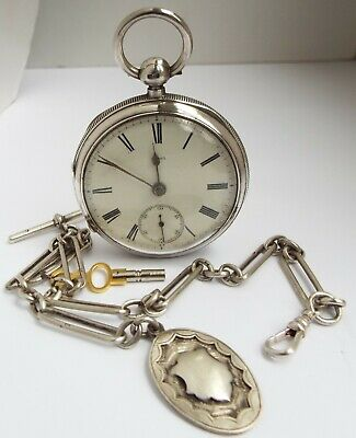 Superb Large Clean Working Antique 1887 Solid Silver Pocket Watch & Albert Chain