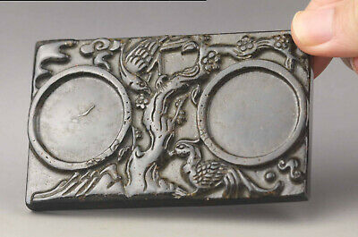 Old Chinese natural jade hand-carved double bird inkstone
