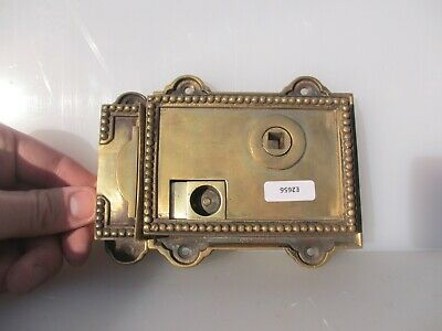 Vintage Brass Door Lock Bolt Old Bathroom WC Bolt Keep Beading