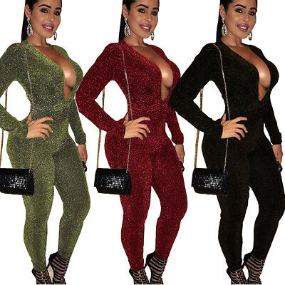 Sexy Women V Neck Long Sleeve Bodycon Club Casual Party Jumpsuit Playsuit Romper