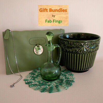 VINTAGE GIFT SET : Solid silver, Fiery Opal, Leather, Pottery, Glass, etc - 258