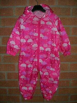MOTHERCARE Girls Pink Hooded Rain Coat Puddle Suit Age 12-18m 86cm
