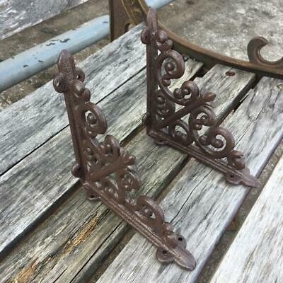 A Pair Antique Style Cast Iron Brackets Garden Braces Rustic Shelf Brown
