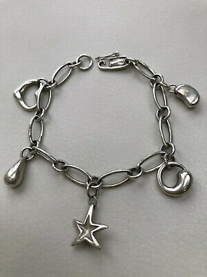 Tiffany &  co. Sterling silver  charm bracelet  Elsa Peretti  collection