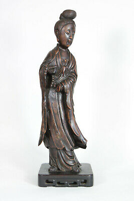 Antique Chinese 18th Century Qing Dynasty Carved Hardwood Wood Guanyin Figure