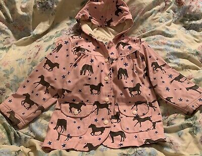 hatley girls Sweet Pink Horses And Stars Terry Lined Designer raincoat Age 4