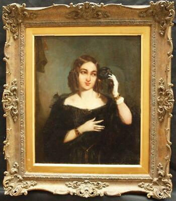 FINE 19th Century PORTRAIT YOUNG LADY WEARING WHITE GLOVE Antique Oil Painting