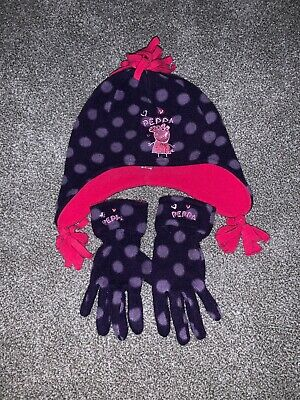 Peppa Pig Girls Hat And Matching Gloves Set Purple Pink 3-6 Years M&S
