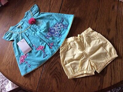 Monsoon Baby Girls Blouse And Shorts Set Age 3-6 Months Bnwt