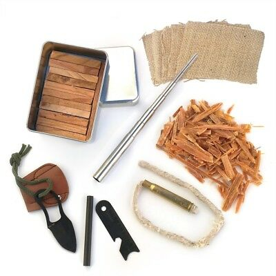 Pocket Survival Tin Fatwood Cut in USA  Ferro Rod Knife Bellows Tinder Torch