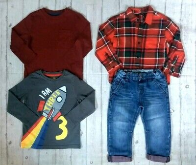 2 3 Years Check Shirt Tops Jeans Boys Trendy Winter Outfit Clothes Bundle