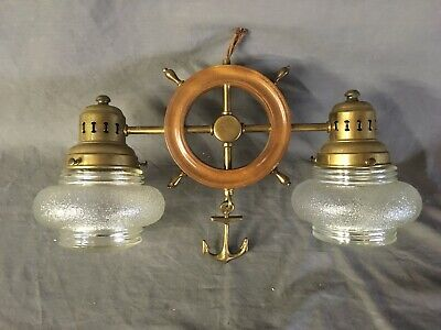 Vtg Brass Wood Maritime Nautical Ships Wheel Ceiling Light Fixture Retro 29-20E