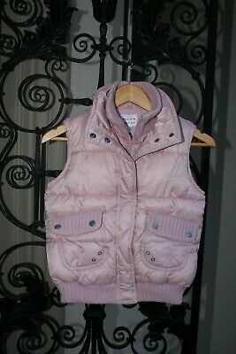NEXT Girls Pink Padded Double Layer Gilet,Quilted Fleece Bodywarmer,Size 9-10