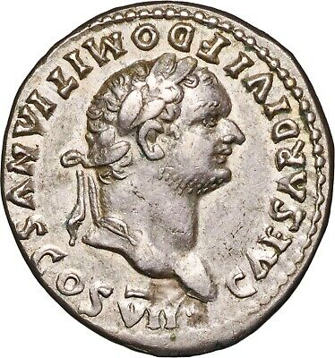 81-96 A.D Domitian, As Cæsar, Silver Denarius Coin - almost Extremely Fine