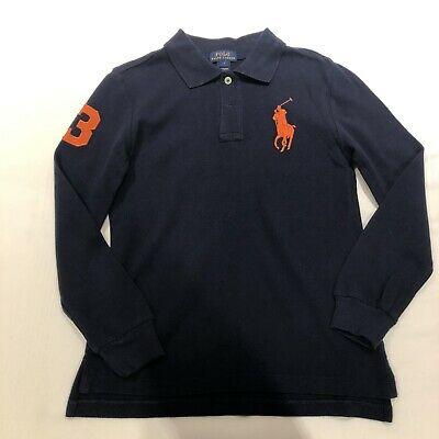 Boys Polo Ralph Lauren Long Sleeve Polo Shirt Age 7 Navy