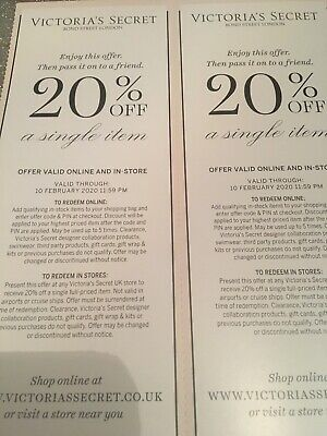 victoria secret Voucher Coupon 20% Discount Online Or In Store