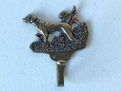 VINTAGE Brass Metal Pointing Dogs Hunting Clothing Coat Towel hat Hanger Hook 4""
