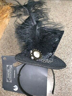 Ladies Black Velvet Ornate Steampunk Mini Top Hat Headband Feather Plume Watch