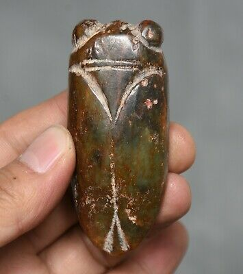 5.5CM China Hongshan Culture Jade Carved Cicada Insect Statue Amulet Pendent