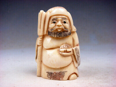 Japanese Detailed Hand Carved Netsuke Sculpture Warrior Holds Weapon #03291903