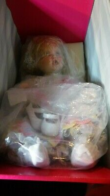 """Marie Osmond Doll Quite A Pair Basket & Blooms Baby Doll C21989 12"""" H Seated"""