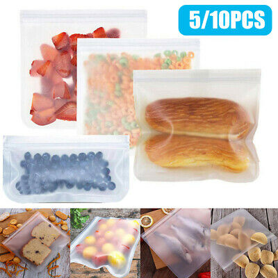 5/10 Kitchen Fresh Bag Reusable Silicone Food Freezer Storage Versatile Ziplock