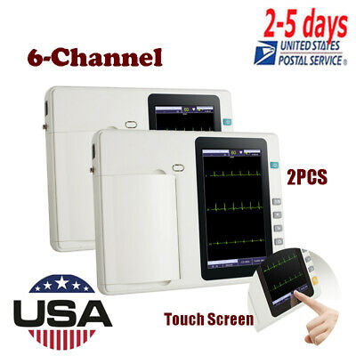 2pcs 6 Channel 12 Lead Electrocardiograph ECG/EKG Machine Set,Touch Screen FDA
