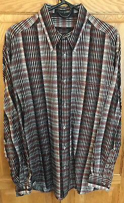 Jhane Barnes Mens Long Sleeve Button-Down Shirt black red gold cotton Size Large