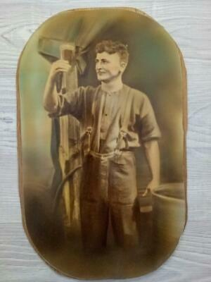 Antique Australian PHOTOGRAPH -Brewery Workman holding a Beer- circa 1890-1900's
