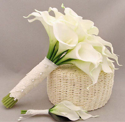 10×Pure White Artificial Calla Lily Real Touch Silk Flower Wedding Bouquet Decor
