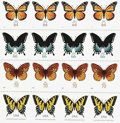 USA Butterfly Surcharge Varieties, 4 Each # 4462, 4736, 4999, 4859 (2010 - 2015)