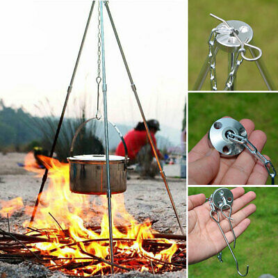 Portable Outdoor Camping Picnic Cooking Tripod Hanging Pot Campfire Stand