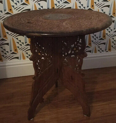 Vintage Antique Retro 1970's Hand Carved  Wooden Side Table, Solid Wood Ornate