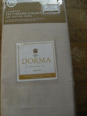 Dorma Superking 350 Thread Count 100% Cotton Satin Pleated Valance in natural
