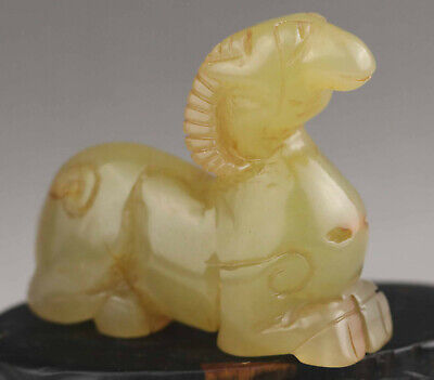 Chinese old natural jade hand-carved statue of sheep