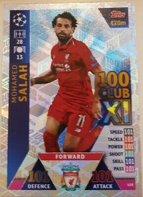 2018/19 Match Attax UEFA Football Soccer Card 100 Club Mo Salah #438