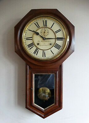 Antique Victorian Drop Dial Wall Clock by Ansonia USA c1880 Schoolhouse Railroad