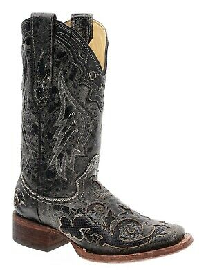 CORRAL Cowboy Boots 6.5 M Womens Western SQUARE TOE Snakeskin Roper Boot Leather
