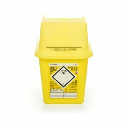 Sharpsafe Medical Contaminated Sharps Box 4L Disposable Clinical Waste Syringe